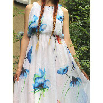 Bohemian Sleeveless Scoop Neck Floral Print Women's Dress - M M