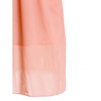 Elegant Scoop Neck Sleeveless Beaded Chiffon Dress For Women - PINK L