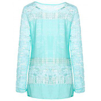 Vintage Round Neck Long Sleeve Furcal Spliced Women's Blouse - AZURE L