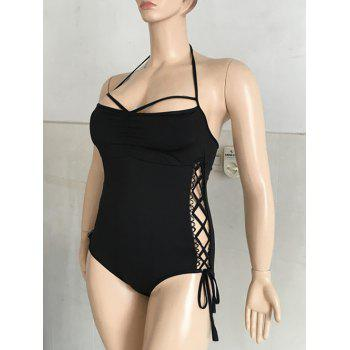 Sexy Black Halter Criss-Cross Swimsuit For Women