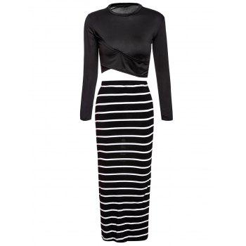 Turtle Neck Long Sleeve Crop Top + Striped Bodycon Skirt Women's Twinset