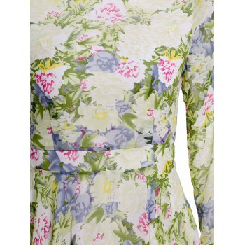 Irregular Hem Floral Print Long Sleeve Round Collar Nipped Waist Dress - GREEN M