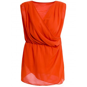 Solid Color Stylish V-Neck High Waist Sleeveless Women's Wraparound Blouse