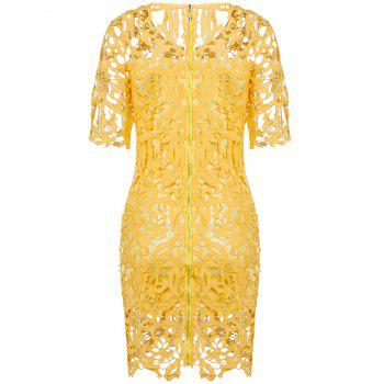 Round Neck 1/2 Sleeve Hollow Out Spliced Lace Women's Dress - S S