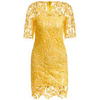 Round Neck 1/2 Sleeve Hollow Out Spliced Lace Women's Dress - YELLOW S