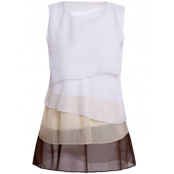 Sleeveless Tiered Color Block Blouse - BROWN BROWN
