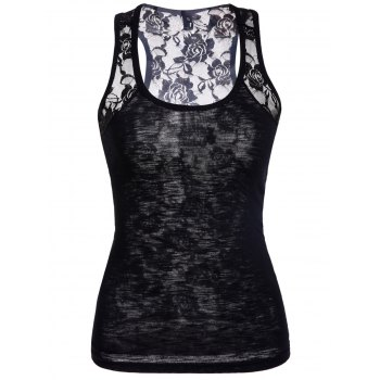 Scoop Neck Lace Splicing Black Tank Top For Women
