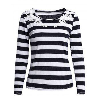 Stylish Scoop Neck Long Sleeve Laciness Striped Women's T-Shirt