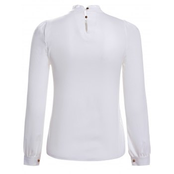 Elegant Stand Collar Long Sleeve Lace Splicing Blouse For Women - M M