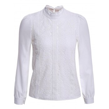 Elegant Stand Collar Long Sleeve Lace Splicing Blouse For Women - WHITE WHITE