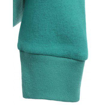 Casual Style Loose-Fitting Solid Color Long Sleeve Hoodie For Women - GREEN M