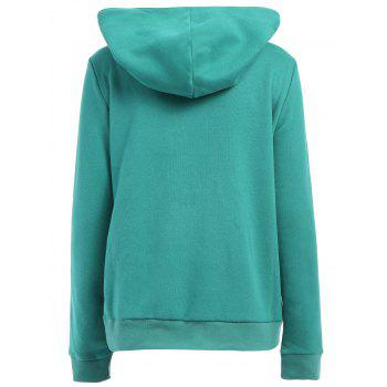 Casual Style Loose-Fitting Solid Color Long Sleeve Hoodie For Women - GREEN GREEN