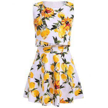 Buy Trendy Jewel Neck Sleeveless Floral Print Two Piece Dress Women WHITE