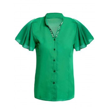 Elegant V-Neck Beaded Short Sleeve Ruffled Chiffon Blouse For Women