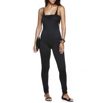 Alluring Spaghetti Strap Solid Color Backless Skinny Women's Jumpsuit