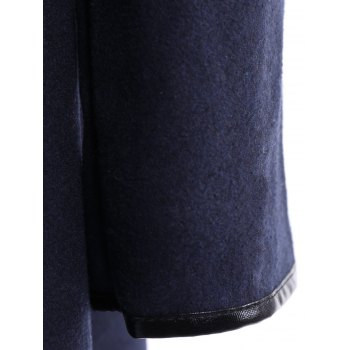 Stylish Women's Long Sleeves Solid Color Asymmetric Wool Coat - CADETBLUE S