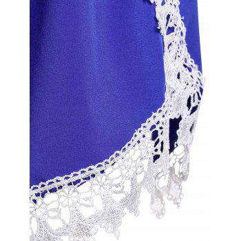Sweet Laced Elastic Waist Loose Shorts For Women - BLUE M
