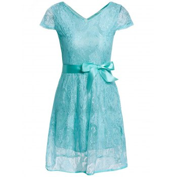 Ladylike V-Neck Short Sleeve Solid Color Lace Women's Dress
