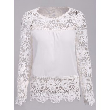 Stylish Round Neck Long Sleeve Hollow Out Spliced Women's Blouse - WHITE S
