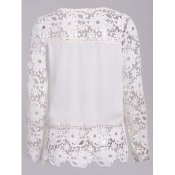Stylish Round Neck Long Sleeve Hollow Out Spliced Women's Blouse - WHITE WHITE