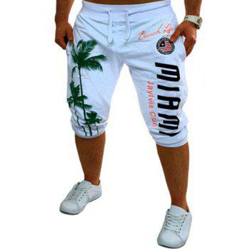 Buy Casual Men's Lace Tree Printed Jogger Pants WHITE