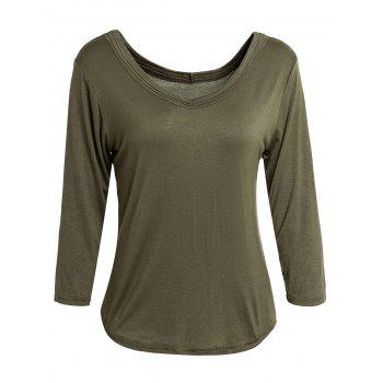 Simple V-Neck Solid Color 3/4 Sleeve Women's T-Shirt