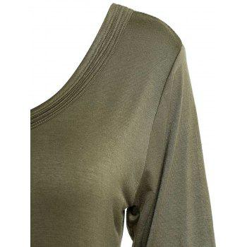 Simple V-Neck Solid Color 3/4 Sleeve Women's T-Shirt - ARMY GREEN XL