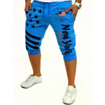 Casual Men's Lace Up Stars Printed Jogger Pants