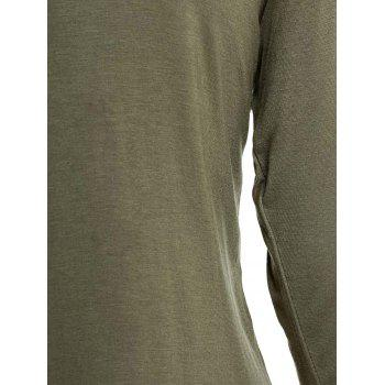Simple V-Neck Solid Color 3/4 Sleeve Women's T-Shirt - ARMY GREEN 2XL