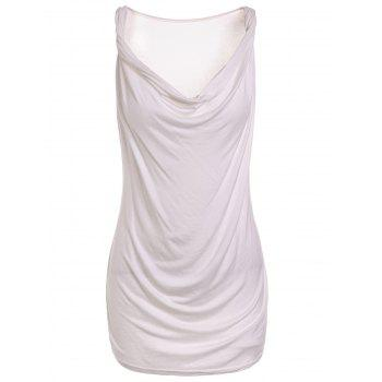 Fashionable Sleeveless Solid Color T-Shirt For Women - WHITE XL