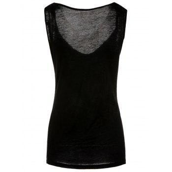 Fashionable Sleeveless Solid Color T-Shirt For Women - BLACK BLACK