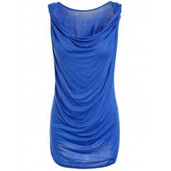 Fashionable Sleeveless Solid Color T-Shirt For Women - BLUE S