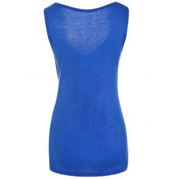 Fashionable Sleeveless Solid Color T-Shirt For Women - BLUE BLUE