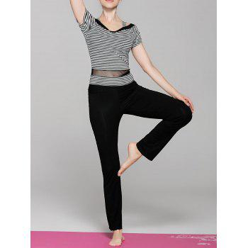 Sportive Women's Short Sleeve Striped Spliced Yoga T-Shirt + Pants Twinset