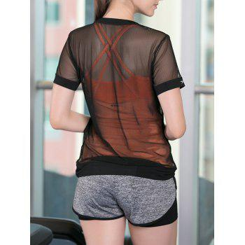 Sportive Women's Criss-Cross Tank Top + Shorts + See-Through Blouse Three-Piece Suit - M M
