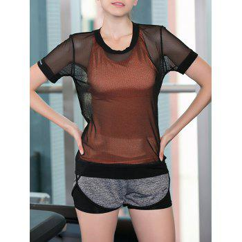 Sportive Women's Criss-Cross Tank Top + Shorts + See-Through Blouse Three-Piece Suit
