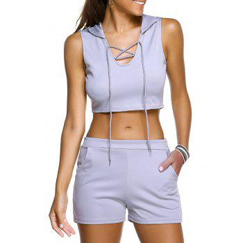 Hooded Crop Top + Shorts Women's Twinset