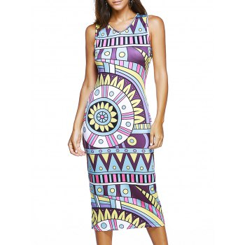 V-Neck Sleeveless Tribal Print Women's Dress