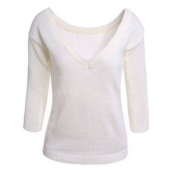 Sexy White Skew Collar Open Back Long Sleeve Sweater For Women