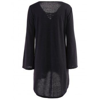 Sexy Long Sleeve V-Neck Black Loose-Fitting Lace-Up Women's Dress - BLACK M