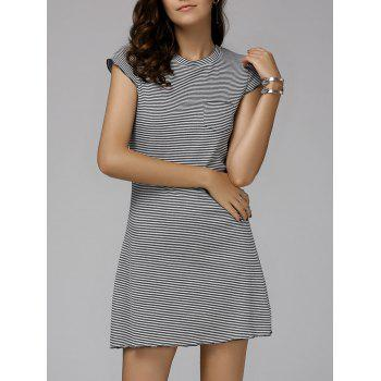 Casual Women's Round Neck Cap Sleeve Rib Dress