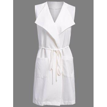 OL Style Solid Color Turn-Down Collar Slit Vest For Women - OFF-WHITE S