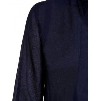 Stylish Plunging Collar Long Sleeve Solid Color Women's Blouse - CADETBLUE CADETBLUE
