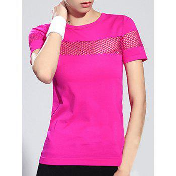 Sports Hollow Out Short Sleeve Round Neck Women's T-Shirt
