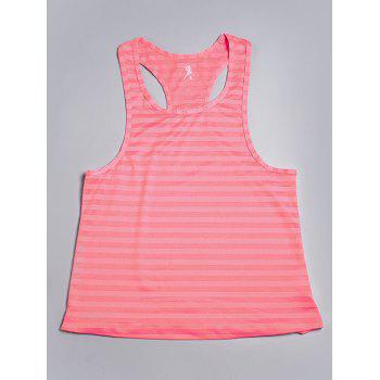 Sports Racerback Scoop Neck Striped Women's Tank Top - PINK M