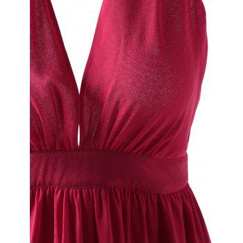 Fashionable Women's Fitted Halterneck Open Back Dress - RED XL