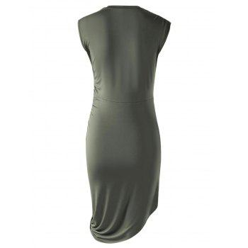 Stylish Solid Color Sleeveless Pleated Asymmetric Dress For Women - ARMY GREEN L