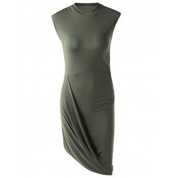Stylish Solid Color Sleeveless Pleated Asymmetric Dress For Women