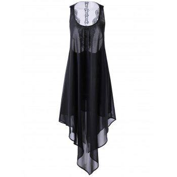 Chic Black U Neck Hollow Back Irregular Dress For Women - BLACK S