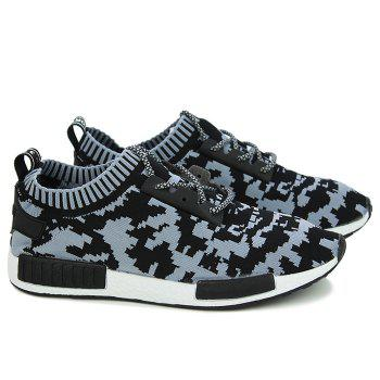 Fashionable Color Splicing and Lace-Up Design Men's Athletic Shoes - BLACK/GREY BLACK/GREY